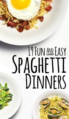 19 Fun And Easy Spaghetti Dinners...Some of these look really good. Too bad I'm allergic to a good portion of them.