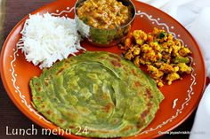 Palak lachha paratha, Paneer bhurji, Lunch menu 24 - Jeyashri's Kitchen Lunch Recipes, Vegetarian Recipes, Indian Food Recipes, Ethnic Recipes, Lunch Menu, Guacamole, Good Food, Snacks, Dishes