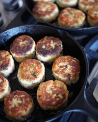 Potato-and-Wild-Salmon Cakes with Ginger and Scallions Recipe from Food & Wine. Make ahead, you can have them for breakfast as well.