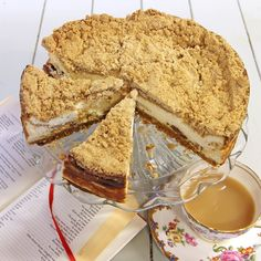 This Apple Crumble Cheesecake Recipe is delicious served cold with cream.