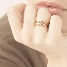 Dainty Thin Ring Tiny Gold Ring Stackable Gold Plated Ring