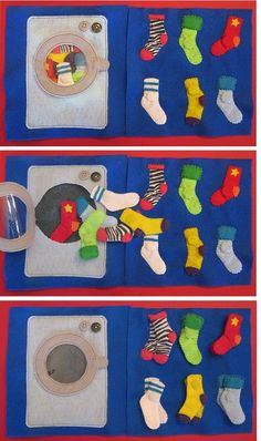 TONS of quiet book page ideas! Imagine Our Life :: Sock Matching Quiet Book Page Diy Quiet Books, Baby Quiet Book, Felt Quiet Books, Book Socks, Silent Book, Quiet Book Patterns, Quiet Book Templates, Busy Book, Felt Crafts