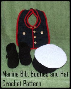 Marine Bib, Booties and Cap Crochet Patterns