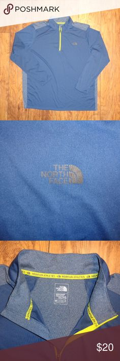 MENS L/S Blue Dri-Fit NORTH FACE 1/4 Zip Shirt XXL Up for sale is a MEN'S L/S Blue Dri-Fit NORTH FACE Shirt ~~ Size XXL  This long sleeve quarter zip dri-fit shirt is mainly blue in color with thin white stripes on the back.The zipper has yellow trim! Made of 100% Polyester!  This shirt comes from my clean smoke free and pet free home. No flaws or stains! If you have any questions, please feel free to contact me. The North Face Shirts Tees - Long Sleeve