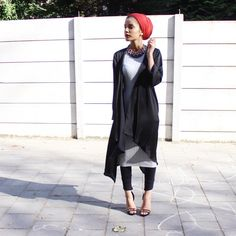 Finally got some time to get ready! Since the amount of homework & projects are killing me Satin Silk Waterfall Cardigan by Necklace by Dress by Shoes by Modest Work Outfits, Modest Skirts, Cute Casual Outfits, Modesty Fashion, Muslim Fashion, Hijab Fashion, Christian Clothing, Muslim Women, Work Attire