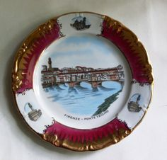 #VogueTeam #EtsyGift #vintage plate porcelain with the view of the old bridge (Ponte Vecchio) in Florence, produced by  Winterling Bavaria Germany, centerpiece