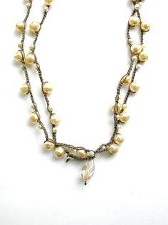 Pearl crochet wrap necklace wrap bracelet Gigi by 3DivasStudio