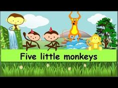 """Five little monkeys - Lyrics: Five little monkeys jumping on the bed. One fell off and bumped his head. Mama called the doctor and the doctor said, """"No more ..."""