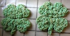 Smashed Peas and Carrots.com:  Shamrock Rice Krispies Treats, green food coloring and heart cookie cutter