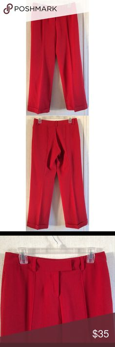 Body by Victoria Red Wool Pants Excellent condition. Really nice Body by Victoria's Secret dress pants. Red 100% wool fabric. Seam details up the front and back of the legs. Zipper, interior button, and double hook flap closure. Zippered pocket on each side. Belt loops around the waist. Cuffed bottom hems. Size 4. 29 inch inseam. Rise 8 inches. All offers welcome Victoria's Secret Pants Boot Cut & Flare