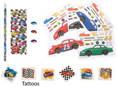Race Car Party Favor Pack for 12 Make-a-race Car Sticker Sheets, 12 Race Car Pencil Stationary Sets, & 36 Racing Tattoos) Race Car Birthday, Race Car Party, Race Cars, Race Car Stickers, Cars Party Favors, Racing Tattoos, Stationary Set, T 4, Party Time
