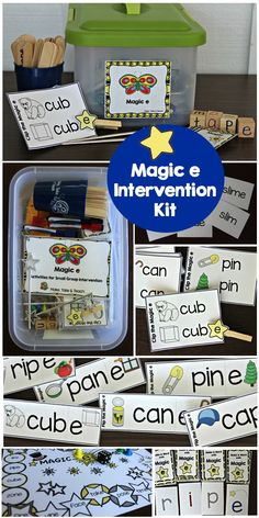 16 hands-on activities for teaching the magic e rule! Great for small group instruction or for activities in your independent centers. Teaching Phonics, Phonics Activities, Language Activities, Hands On Activities, Teaching Tools, Phonics Lessons, Jolly Phonics, Interactive Activities, Teaching Resources