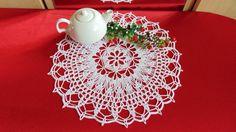 Lace Doily Crochet White Cotton Doily  Round  by MaddaKnits