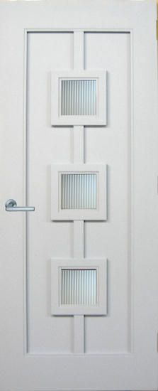 "DbyD-5162.  This 36"" X 96"" Paint Grade Contemporary Front Entry Door was designed by Doors By Decora.  The glass is Fluted Tempered Glass and the hardware is FSB."