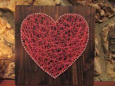 Valentine's Day String Art Heart, Nail and String Art, Nursery Decor. $30.00, via Etsy.