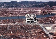 Hiroshima, 1946. 70, 000 people died instantly from the super intense heat generated by the bomb. It was decided to make the bomb explode 500ft above the city for maximum blast effect. Had it exploded upon impact with the earth, the earth would have absorbed most of the impact.