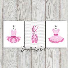 Ballerina nursery wall art decor print Pink glitter Ballerina dress Tutu Print, Ballet Dress Girls Room Ballet Shoes Girls gift ideas Set 3