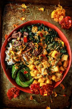 Kale, Roasted Pumpkin, Chicken and Avocado Salad with Smoky Pumpkin Dressing from HeatherChristo.com