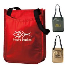 """Metallic Non-Woven Gift Tote 15542 - Allow this handy marketing tool to """"carry"""" your brand far! This metallic non-woven gift tote makes a terrific giveaway during fundraisers and tradeshows. This reusable laminated metallic tote features a front slip pocket and dual black shoulder-length handles. Measuring 9""""w x 12""""h x 4-1/2""""d; add your logo to this item for an excellent opportunity to promote your business. Exclusive Product. Free 24 hour service; order now! #propelpromo"""