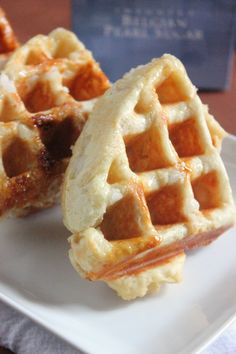 Belgian Sugar Waffles made with real Belgian pearl sugar. Waffle Recipes, Gourmet Recipes, Cooking Recipes, Fun Recipes, Chocolate Sorbet, Pearl Sugar, Bacon On The Grill, Belgian Waffles, No Sugar Foods