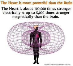 The heart can actually transmit energy across long distances. It's much more powerful than the brain. I read this book about it. Ï think it's called the Heart Code or something like that.