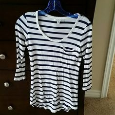 Cabi top White and blue. CAbi Tops Tees - Long Sleeve