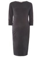 Womens **Maternity Grey Bodycon Dress- Grey