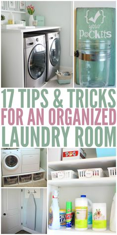 17 Tips and Tricks for an Organized Laundry Room - One Crazy House tips. 17 Tips and Tricks for an Organized Laundry Room – One Crazy House tips tips an Laundry Closet, Laundry Room Organization, Organization Hacks, Laundry Rooms, Doing Laundry, Laundry Hacks, Tips & Tricks, Storage Room, Mudroom