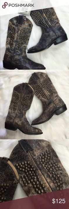 FRYE Leather Studded Distressed Boots Genuine leather. Only worn twice. In awesome condition! These boots smell amazing from the leather!!! No trades. size 6.5B Frye Shoes Heeled Boots