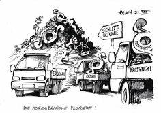 """OÖN-Karikatur vom 27. Juli 2017: """"Die Abrissbranche floriert!"""" Mehr Karikaturen auf: http://www.nachrichten.at/nachrichten/karikatur/ (Bild: Haitzinger)"""