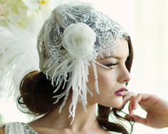 Headpieces - Rosi's Bridal Studio Madison Bridal Cap Handmade with ivory lace complete with a stunning glitzy flower with cz crystals and simulated ivory pearls. Bridal Tiara, Bridal Lace, Bridal Jewelry, 1920s Glamour, Feather Headpiece, Organza Flowers, Pearl And Lace, Beaded Gown, Timeless Wedding