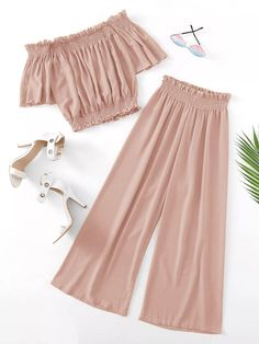 To find out about the Plus Off-shoulder Shirred Blouse & Pants at SHEIN, part of our latest Plus Size Co-Ords ready to shop online today! Stylish Dresses For Girls, Stylish Dress Designs, Dresses Kids Girl, Cute Girl Outfits, Cute Casual Outfits, Pretty Outfits, Cute Dresses, Peplum Dresses, Pink Outfits
