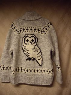 Tuak Cowichan Sweater Owls Bulky Knit Canada Zip Front Shawl Collar