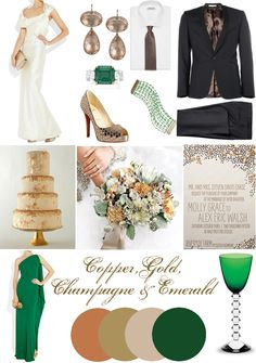 Emerald, Gold and Copper Wedding