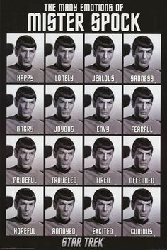 Mister Spock of Star Trek (brilliantly portrayed by Leonard Nimoy) shows his emotional range in this great poster! Fully licensed. Ships fast. 24x36 inches. Boldly Go and check out the rest of our ama