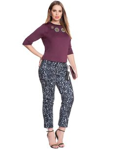 Printed Kady Fit Pant | Women's Plus Size Pants | ELOQUII