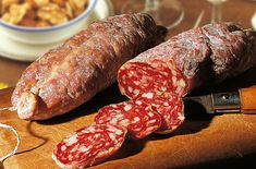 """Are you looking for something for an aperitif? Saucisson, or """"saucisson sec,"""" is a variety of thick, dry cured sausage that originates from France. Some versions of saucisson also contain pepper seeds, garlic, bits of dried fruit or nuts and cheese such as Roquefort."""