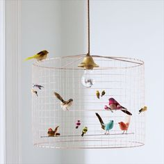 DIY Bird Cage Light: What you'll need: - An old lamp shade - hardware cloth - some floral wire - wire cutters - gloves - gold . Birdcage Chandelier, Chandelier Ceiling Lights, Birdcage Light, Pendant Lights, Ceiling Light Diy, Kids Ceiling Lights, Kids Chandelier, Lampshade Chandelier, Green Chandeliers