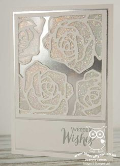 handmade wedding card from The Crafty Owl ... The daily blog of Joanne James ... posh monochromatic look in monochromatic white ... silver foil background paneel ... stained glass rose lines over solid white glitter paper die cut ... awesome card! ... Stampin' Up!whi