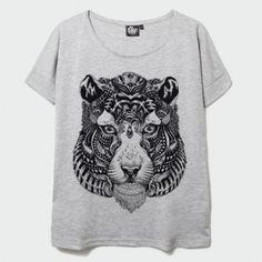 T-Shirt Tiger Mix Gris