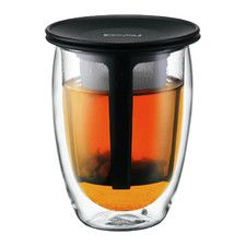 Teapot for One Double Wall Insulated Tumbler with Strainer