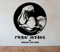 Fitness Gym Wall Decal TRAIN INSANE Design Mural sports lifestyle work out home decor