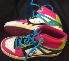 DC Skater Spartan High Top Black Pink Turquoise Glitter Shoes Sz 4 5 Skateboard | eBay