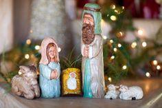 KATHY RAVENBERG Hand carved Nativity.