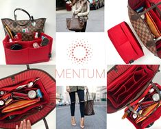 53cf2c4d08ff Classic Red Organizer Insert for Louis Vuitton Neverfull   Speedy Purse  Tote Mentum Felt Organization - Cherry Red