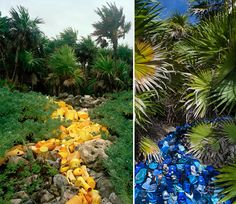 Photography/environmental sculptures by Alejandro Duran, all made from trash washed up on beaches in Mexico.