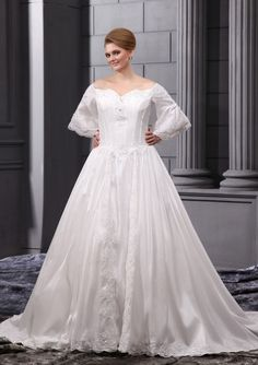 Plus Size Wedding Dresses with Sleeves   ... Long Sleeves Satin Plus Size Wedding Dresses For Bride DIB105016