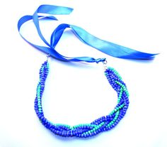 Blue and green braided beaded necklace by NotYourMomsJewellery Braided Necklace, Ribbon Necklace, Green Necklace, Mom Jewelry, Etsy Jewelry, Jewellery, How To Make Ribbon, Blue Satin, Acrylic Beads