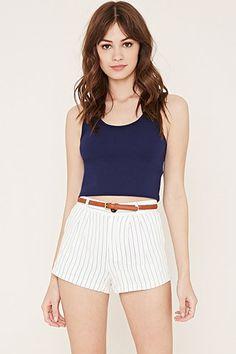 Pleated Pinstripe Shorts
