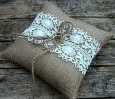 SALE - Burlap/Hessian Wedding Ring Bearer Pillow/Cushion in Natural Burlap with Handmade Vintage Cream Cotton/ Linen  Lace